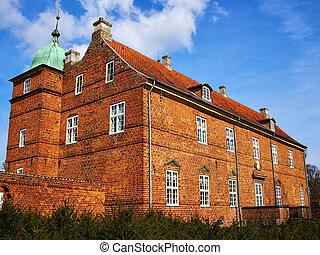 casa, ilha,  Fyn, histórico,  funen, mansão, Dinamarca