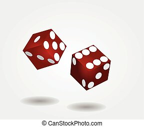Two red dices rolling