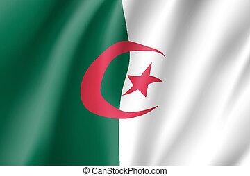 Algeria realistic flag - Algeria flag. National patriotic...