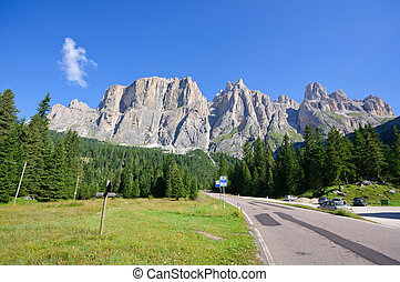 Dolomites, Italy - Sella group, a plateau shaped massif in...