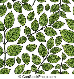 Seamless pattern of birch, honeysuckle leaves - Seamless...