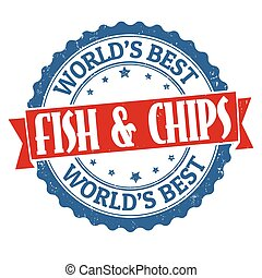 Fish and chips sign or stamp on white background, vector...