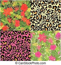 Collection of decorative floral seamless background with exotic flowers, tropical leaves, animal print for fabric, textile, wrapping paper, wallpaper, web design
