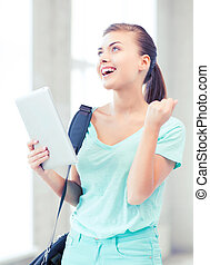 happy student girl with tablet pc - education, technology...