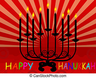Happy Hanukka background with Hanukka candles lit for the...