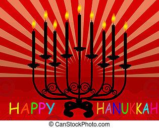 Happy Hanukka background with Hanukka candles lit for the...