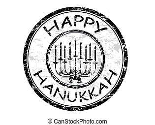 Happy Hanukka stamp - Happy Hanukka rubber grunge stamp with...