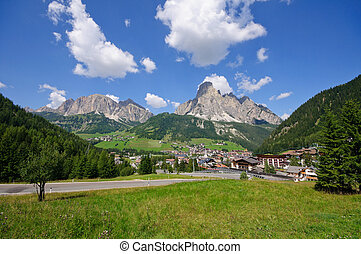 Dolomites, Italy - Corvara and Sassongher2,625m in the...