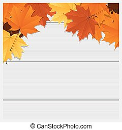 Hello autumn background with colorful leaves on wooden board...