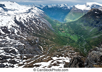 Geirangerfjord - View of Geirangerfjord from Dalsnibba. The...