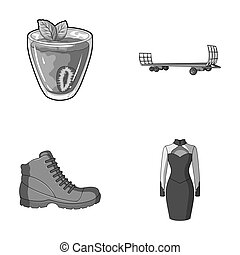 vegetarianism, shoes and other monochrome icon in cartoon...