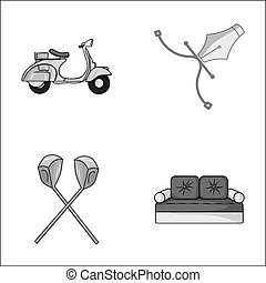 transport, sport and other monochrome icon in cartoon style.architecture, furniture icons in set collection.