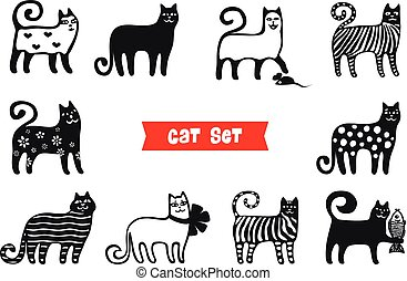 Funny cats set. Black cats silhouette collections. Cartoon style.