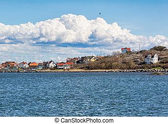 Island in Swedish archipelago. - Fishing village on the...