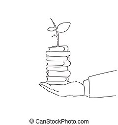 Business Man Hand Holding Plant On Books Stack Environmental Protection Growth Concept