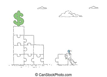 Business Man Solving Puzzle To Reach Dollar Sign Financial Success Concept