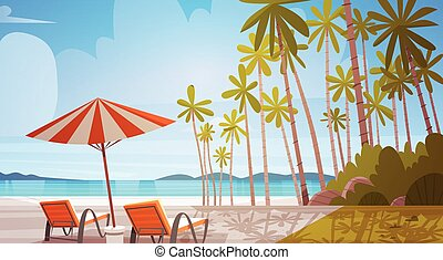 Sea Shore Beach With Deck Chairs Beautiful Seaside Landscape...