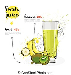 Banana Kiwi Mix Cocktail Of Fresh Juice Hand Drawn Watercolor Fruits And Glass On White Background