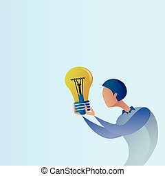 Abstract Business Man New Creative Idea Concept Hold Light Bulb