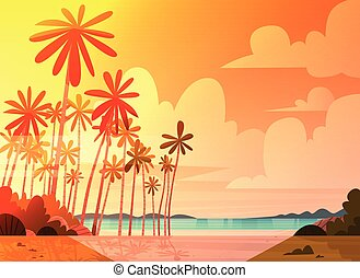 Sea Shore Beach On Sunset Beautiful Seaside Landscape Summer...
