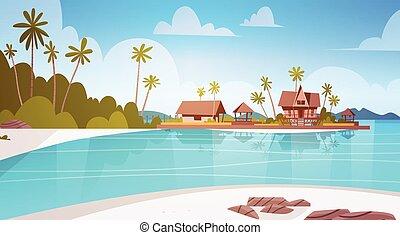 Sea Shore Beach With Villa Hotel Beautiful Seaside Landscape...