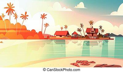 Sea Shore Beach With Villa Hotel Beautiful Sunset Seaside...