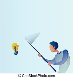 Abstract Business Man Catch Light Bulb With Butterfly Net...
