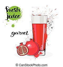 Garnet Juice Fresh Hand Drawn Watercolor Fruits And Glass On...