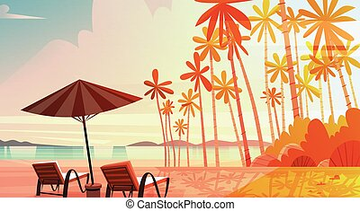 Sea Shore Beach With Deck Chairs On Sunset Beautiful Seaside...