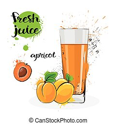 Apricot Juice Fresh Hand Drawn Watercolor Fruits And Glass...