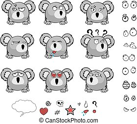 cute baby ball koala cartoon expression set in vector format