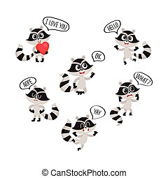 Cute raccoon character showing different emotions with...