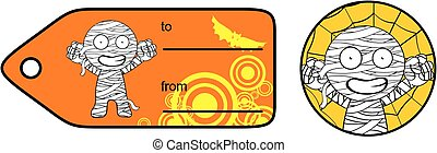 happy mummy cartoon giftcard sticker expression set - cute...