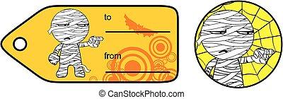 cute little mummy cartoon giftcard sticker expression set -...