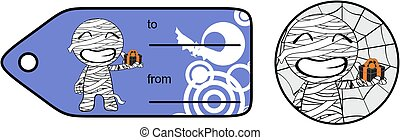 gift chubby little mummy cartoon giftcard sticker expression...