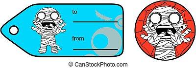little mummy cartoon giftcard sticker expression set - cute...