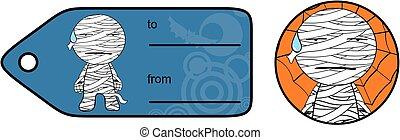cute chubby mummy cartoon giftcard sticker expression set -...