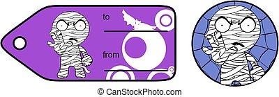 chubby little mummy cartoon giftcard sticker expression set...