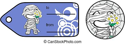 lovely chubby little mummy cartoon giftcard sticker...
