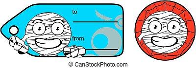 cute chubby little mummy cartoon giftcard sticker expression...
