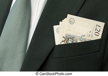 Cash in pocket - payment made - Businessman with cash - UK...