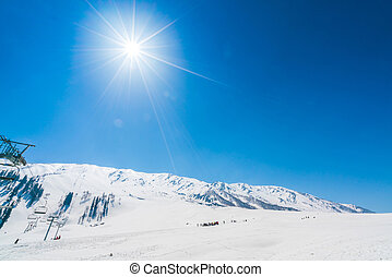 Beautiful snow covered mountains landscape Kashmir state,...