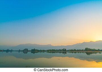 Sunrise on Dal lake, Kashmir India . - Sunrise on Dal lake,...