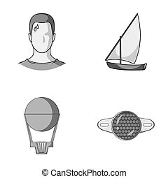 give, business, sport and other monochrome icon in cartoon style. Reflection, bicycle, motorcycle icons in set collection.