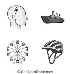 bicycle, business, medicine and other monochrome icon in cartoon style.defense, competition, motorcycle icons in set collection.