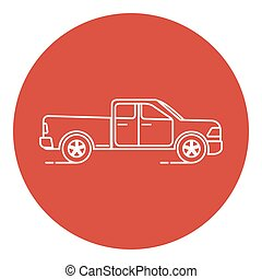 Line art style pickup truck icon