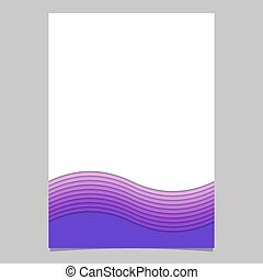 Stationery template from wave stripes - vector brochure, page design with shadow effect