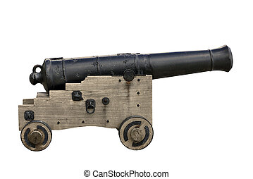 Old cannon - isolated - Naval cannon on carriage, isolated...