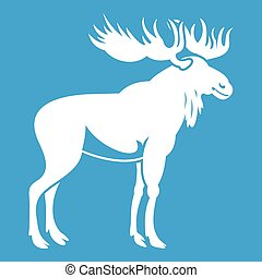 Moose icon white isolated on blue background vector...