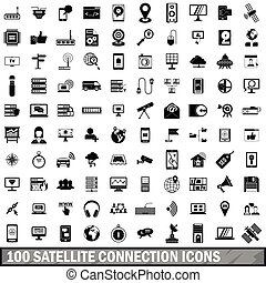 100 satellite connection icons set, simple style - 100...